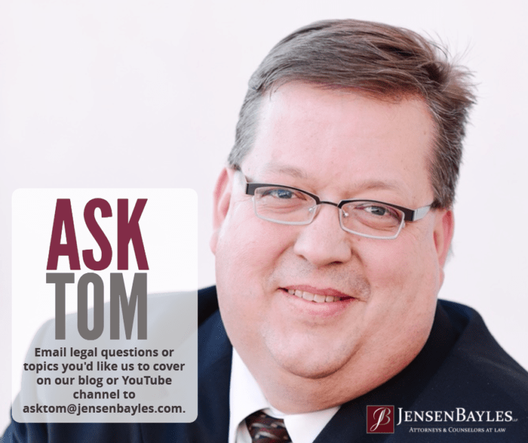 Image of Tom Bayles with words that say ASK TOM with Tom's email asktom@jensenbayles.com